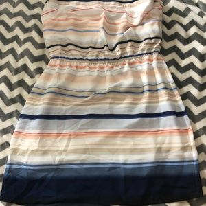 NWOT WHBM Strapless Striped Multicolor Dress